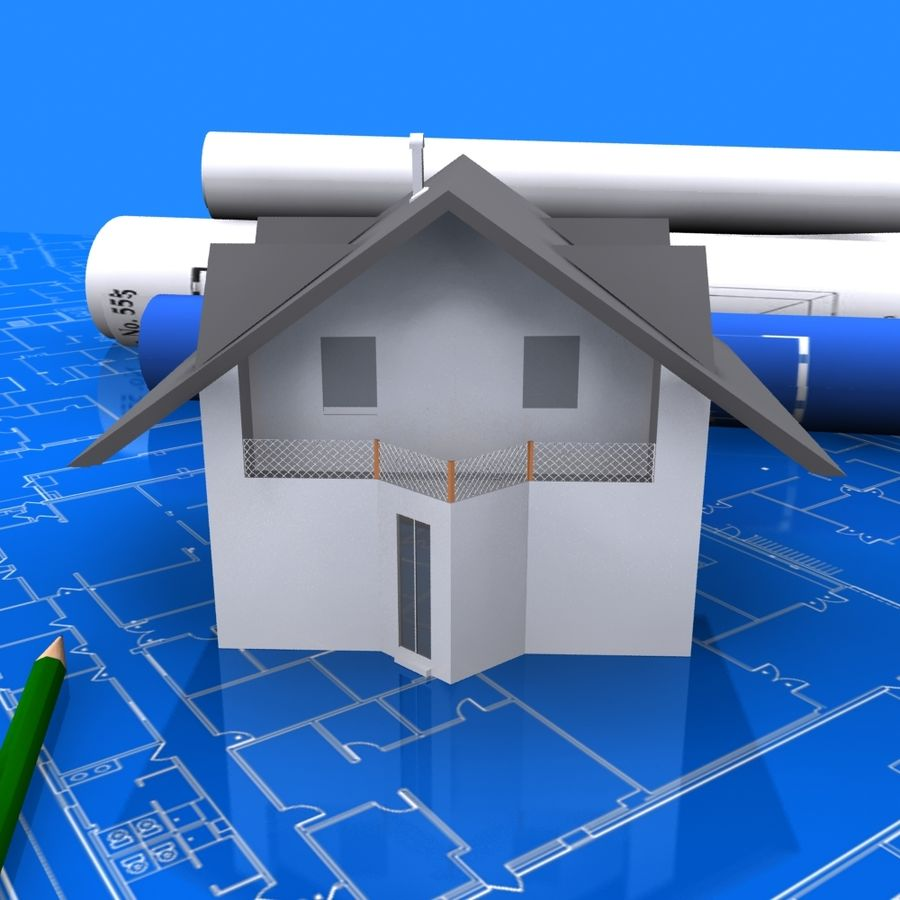 Architectural Blueprint house royalty-free 3d model - Preview no. 6