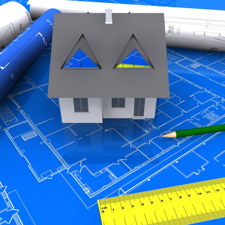 Architectural Blueprint house royalty-free 3d model - Preview no. 7