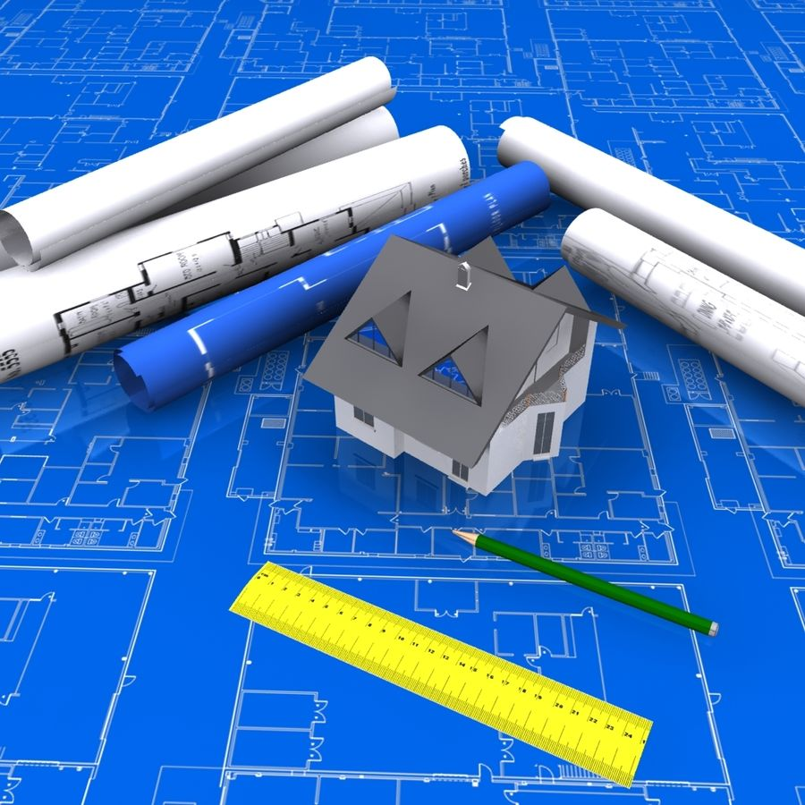 Architectural Blueprint house royalty-free 3d model - Preview no. 2
