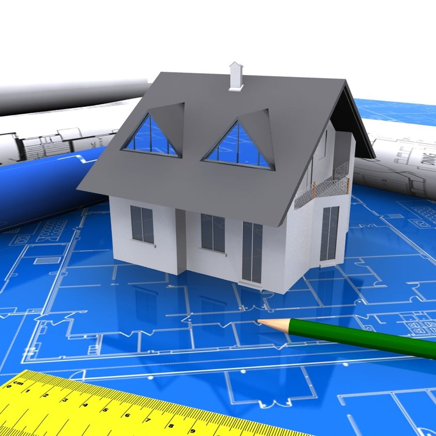 Architectural Blueprint house royalty-free 3d model - Preview no. 1