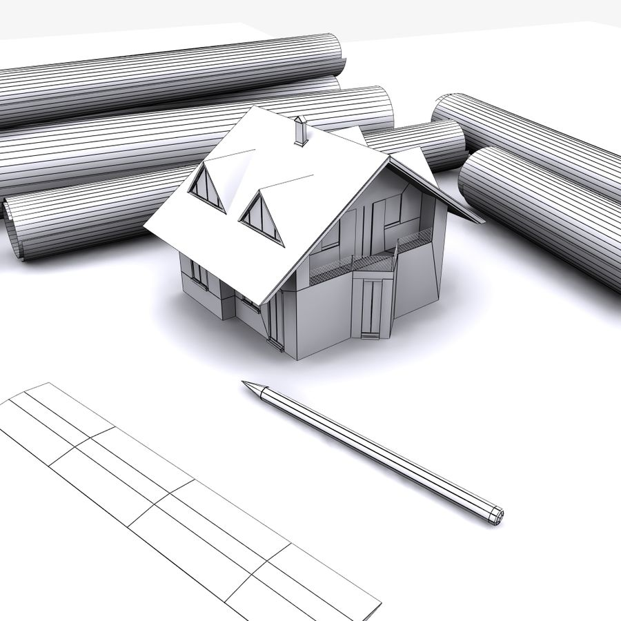 Architectural Blueprint house royalty-free 3d model - Preview no. 8