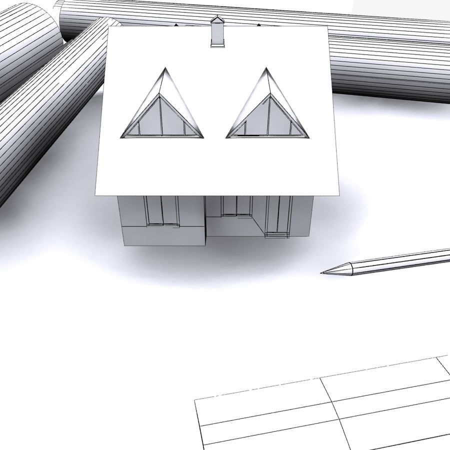 Architectural Blueprint house royalty-free 3d model - Preview no. 3