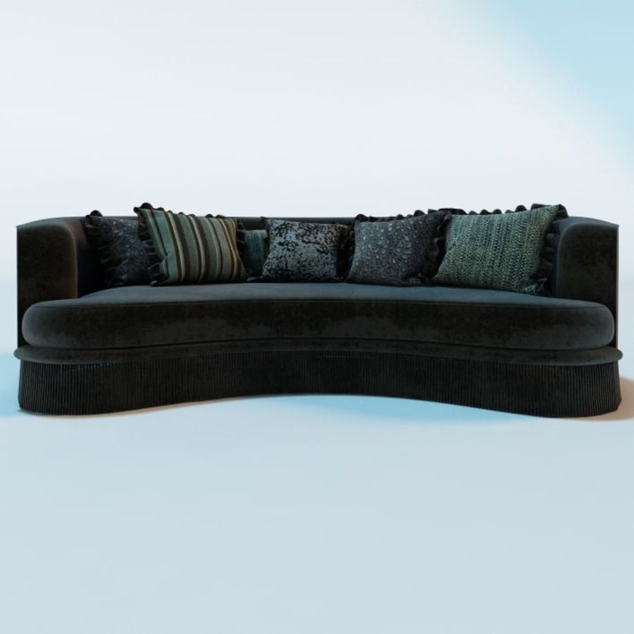 Realistic Curved Sofa & Cushions royalty-free 3d model - Preview no. 3
