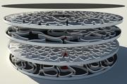 Futuristisk labyrint på flera nivåer 3d model