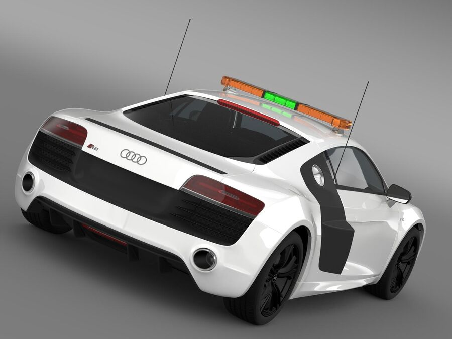 Audi R8 V10plus Safety Car royalty-free 3d model - Preview no. 2