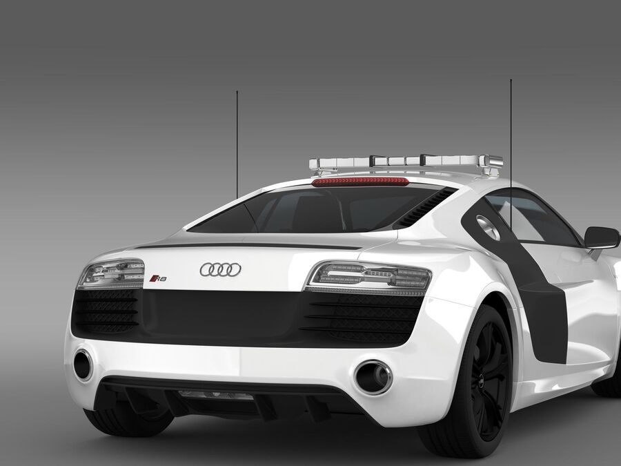 Audi R8 V10plus Safety Car royalty-free 3d model - Preview no. 15