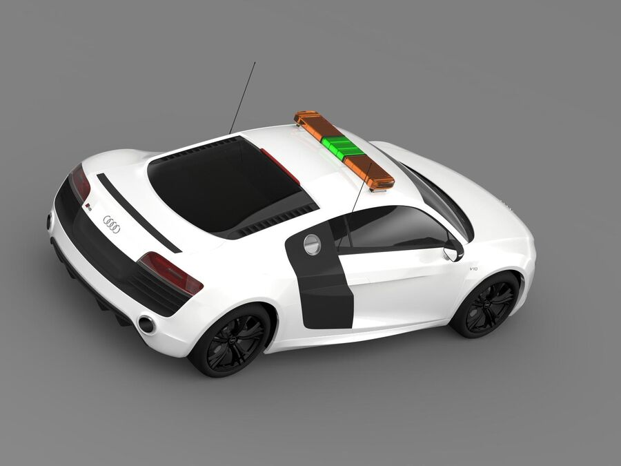 Audi R8 V10plus Safety Car royalty-free 3d model - Preview no. 10