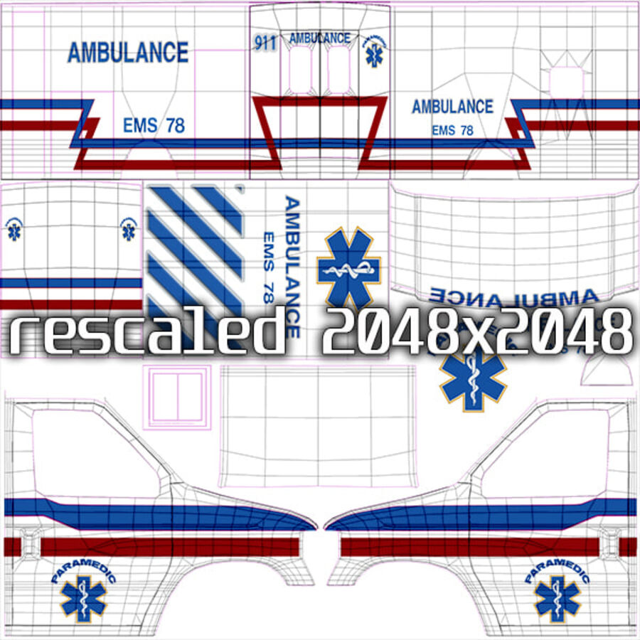 Emergency Ambulance Vol7 truck 3in1 royalty-free 3d model - Preview no. 16