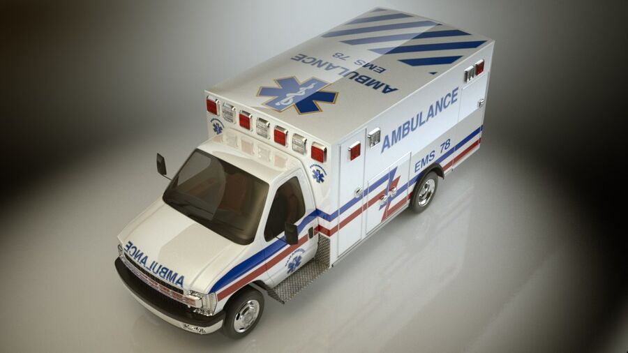 Emergency Ambulance Vol7 truck 3in1 royalty-free 3d model - Preview no. 12