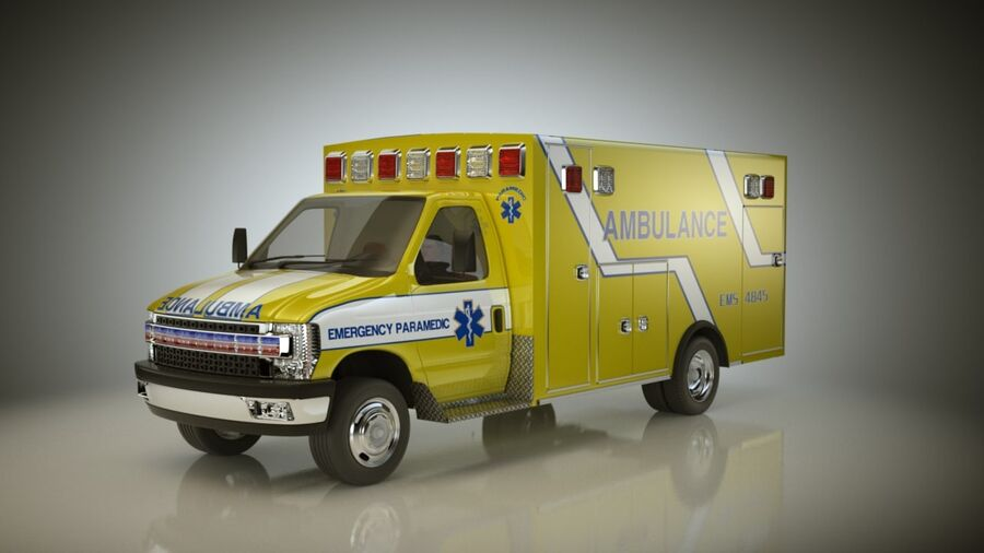 Emergency Ambulance Vol7 truck 3in1 royalty-free 3d model - Preview no. 3