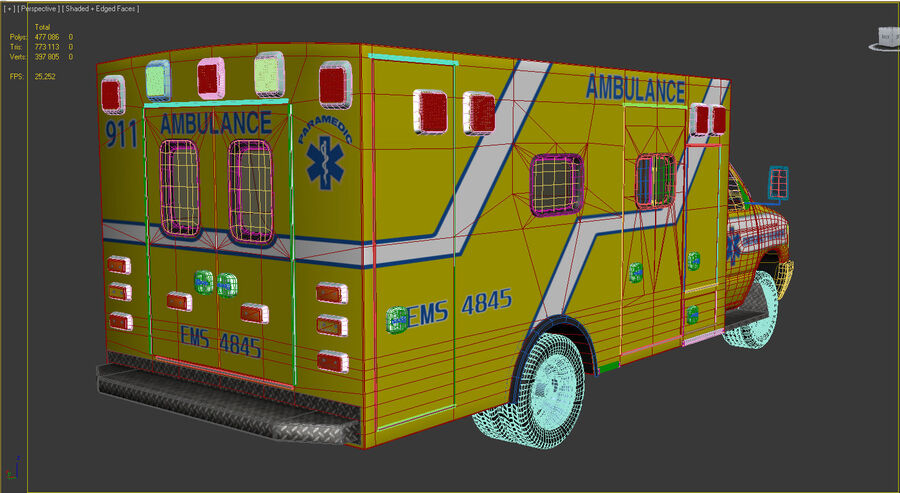 Emergency Ambulance Vol7 truck 3in1 royalty-free 3d model - Preview no. 18