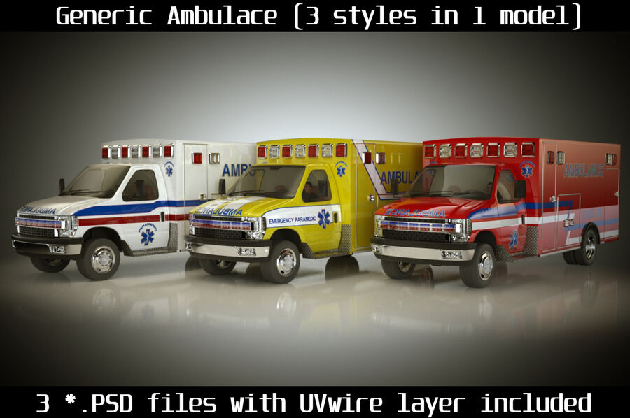 Emergency Ambulance Vol7 truck 3in1 royalty-free 3d model - Preview no. 1