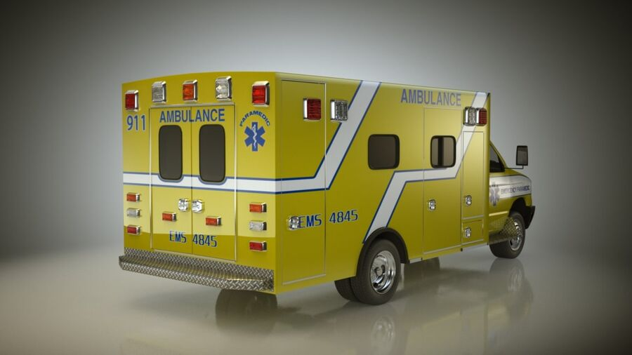 Emergency Ambulance Vol7 truck 3in1 royalty-free 3d model - Preview no. 5