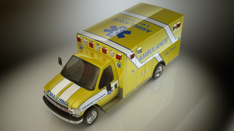 Emergency Ambulance Vol7 truck 3in1 royalty-free 3d model - Preview no. 10