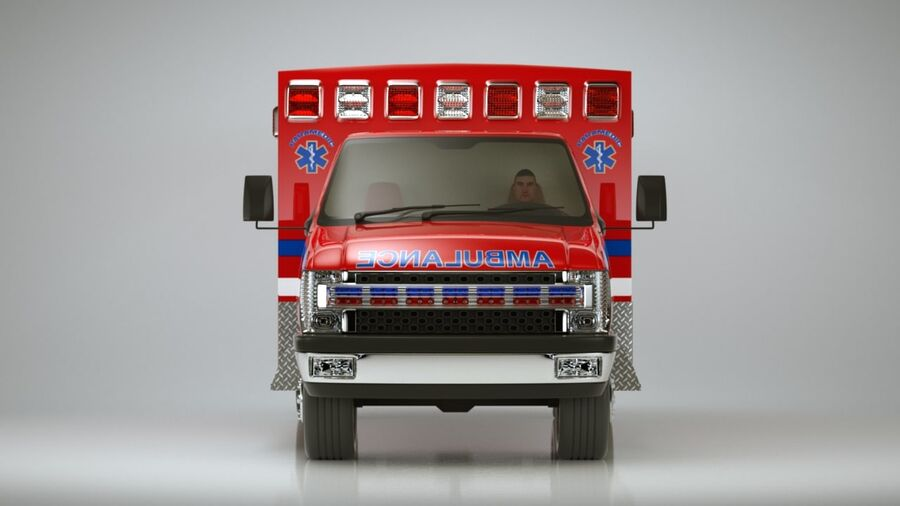 Emergency Ambulance Vol7 truck 3in1 royalty-free 3d model - Preview no. 4