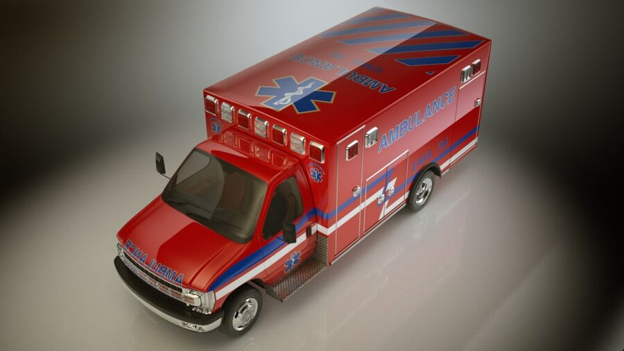 Emergency Ambulance Vol7 truck 3in1 royalty-free 3d model - Preview no. 11