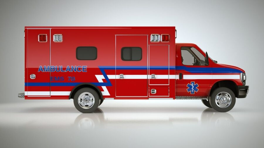 Emergency Ambulance Vol7 truck 3in1 royalty-free 3d model - Preview no. 8