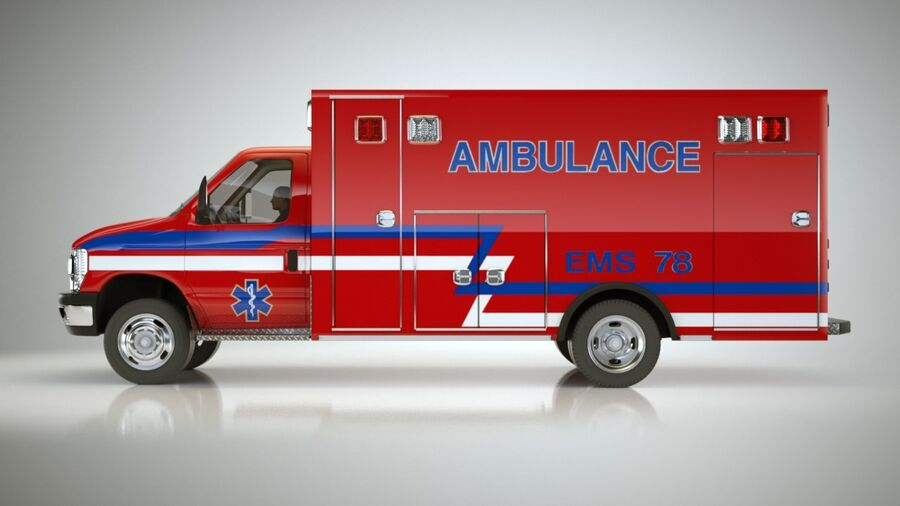 Emergency Ambulance Vol7 truck 3in1 royalty-free 3d model - Preview no. 14