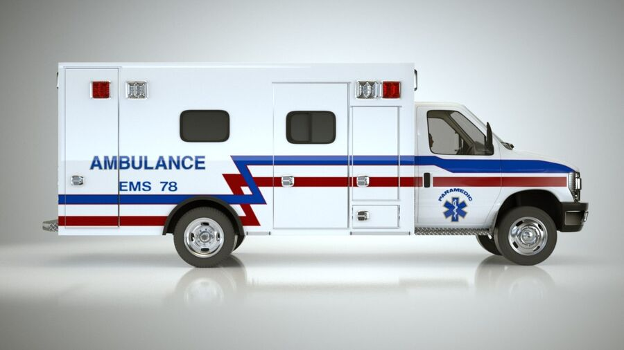 Emergency Ambulance Vol7 truck 3in1 royalty-free 3d model - Preview no. 9