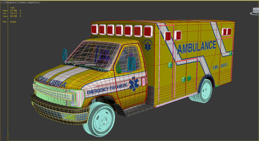 Emergency Ambulance Vol7 truck 3in1 royalty-free 3d model - Preview no. 17
