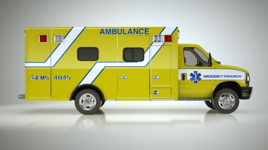 Emergency Ambulance Vol7 truck 3in1 royalty-free 3d model - Preview no. 7