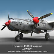 록히드 P-38 라이트닝-Jewboy 3d model