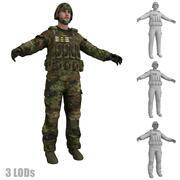 Żołnierz 3 LODs 3d model