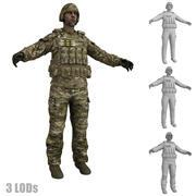 Żołnierz 4 LODs 3d model