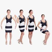 Frau im Kleid Set 3d model