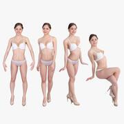 Frau im Unterwäscheset 3d model