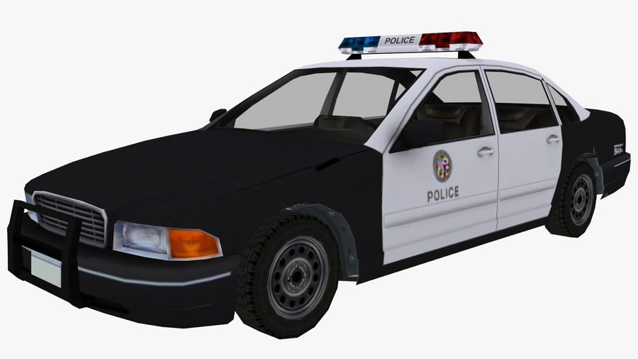 Macchina della polizia low poly royalty-free 3d model - Preview no. 2