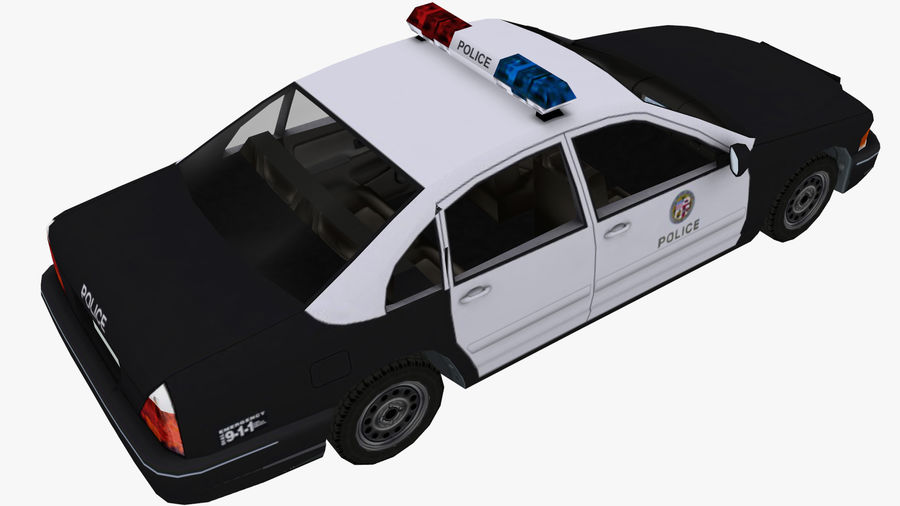 Macchina della polizia low poly royalty-free 3d model - Preview no. 4