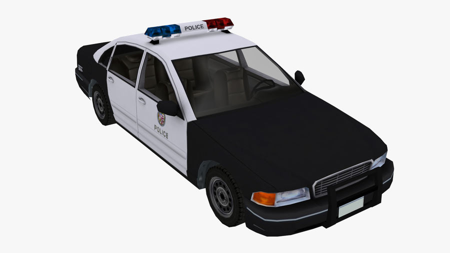 Macchina della polizia low poly royalty-free 3d model - Preview no. 6