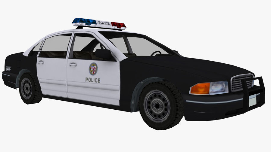 Macchina della polizia low poly royalty-free 3d model - Preview no. 3