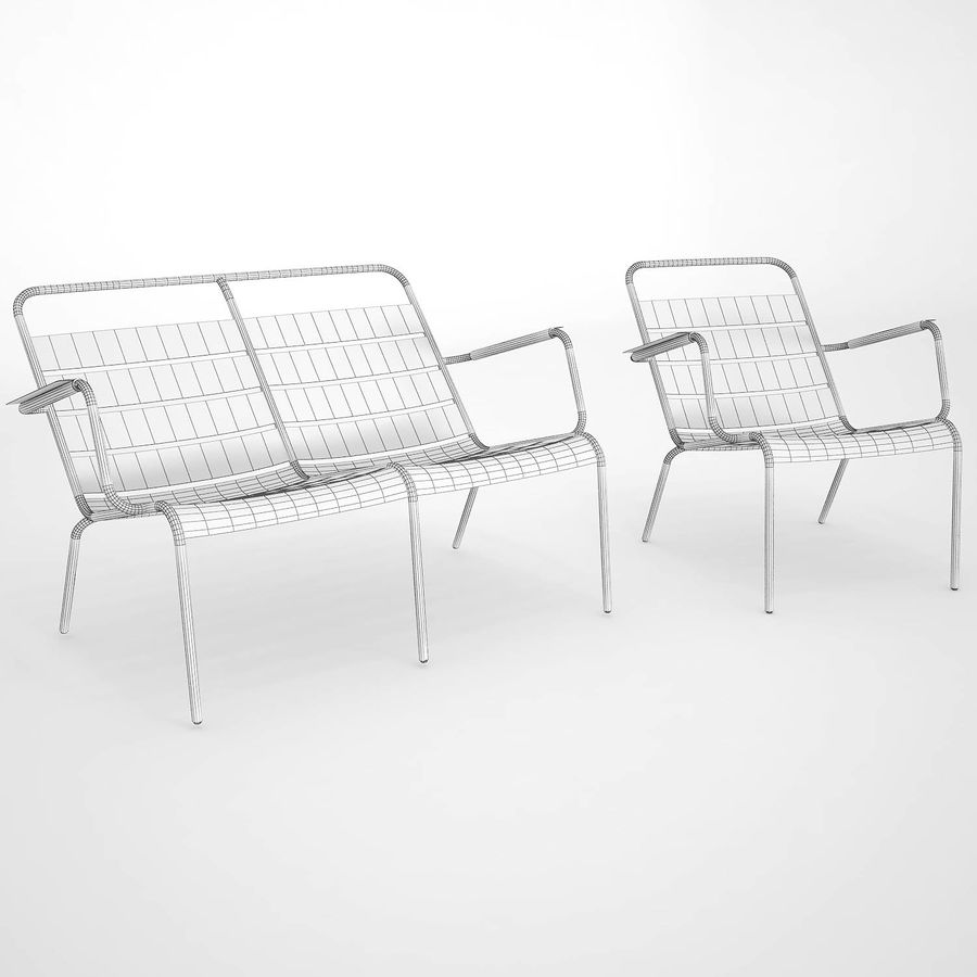 Luxembourg chair royalty-free 3d model - Preview no. 8