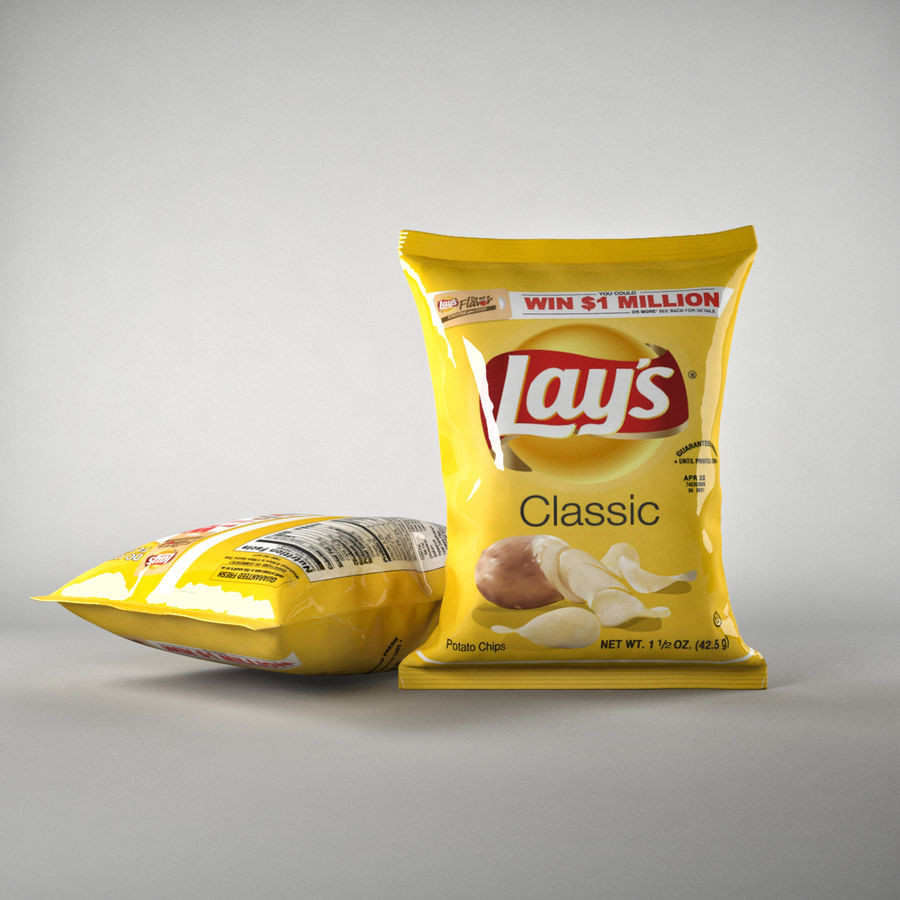 Lays Pack och Chips royalty-free 3d model - Preview no. 4