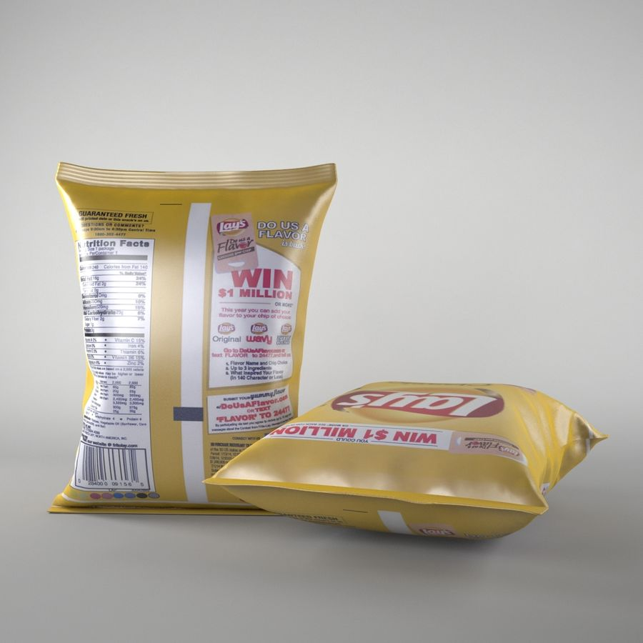 Lays Pack och Chips royalty-free 3d model - Preview no. 2