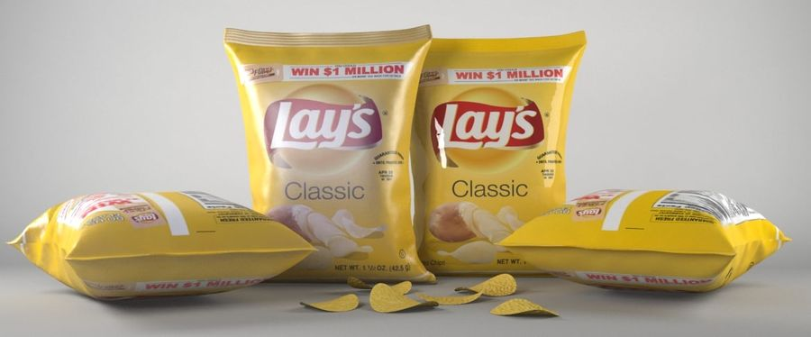 Lays Pack och Chips royalty-free 3d model - Preview no. 1
