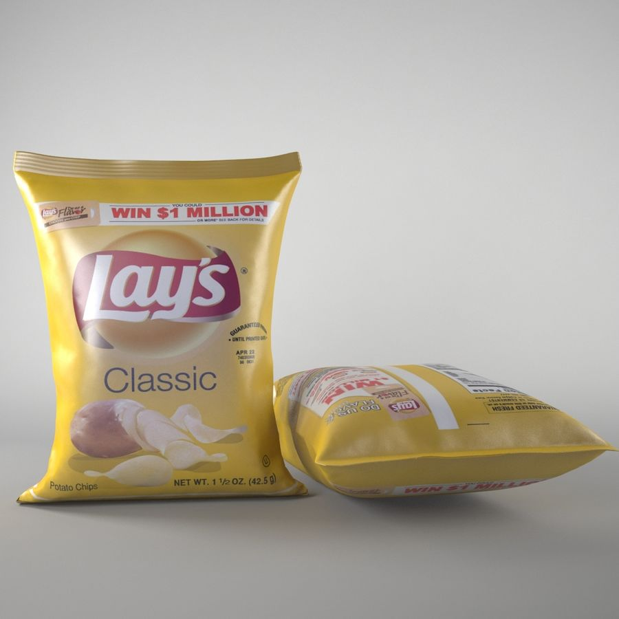 Lays Pack och Chips royalty-free 3d model - Preview no. 3