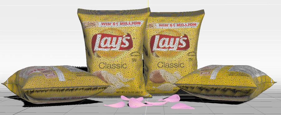 Lays Pack and Chips royalty-free 3d model - Preview no. 6