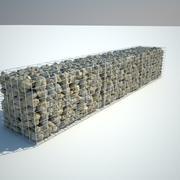 Gabion stone wall 3d model