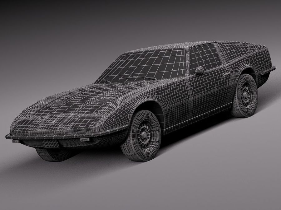 Maserati 1973 royalty-free 3d model - Preview no. 17