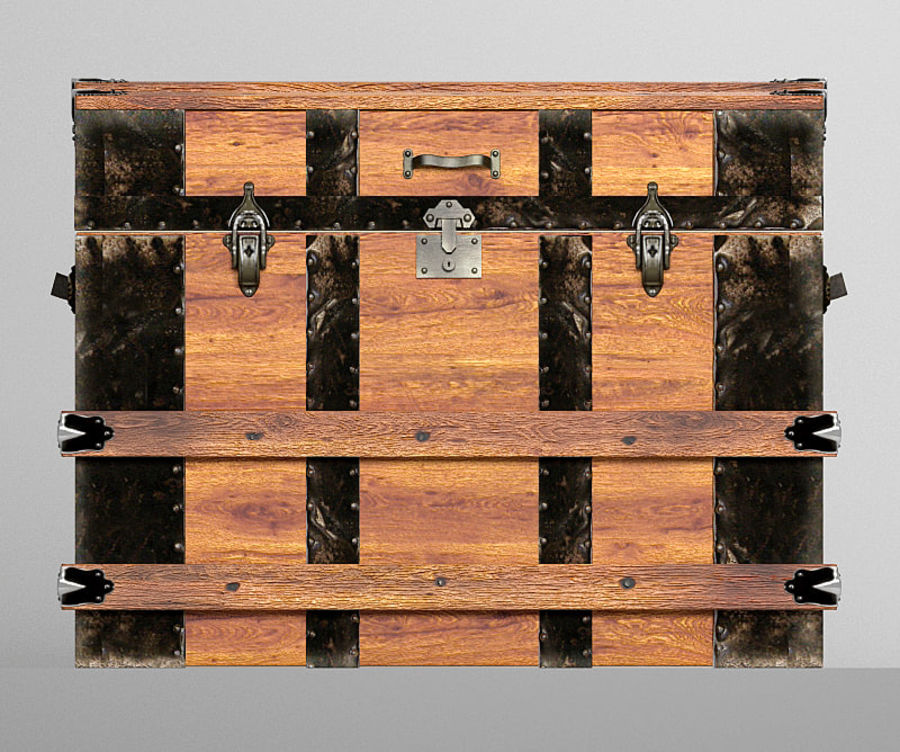 antique chest royalty-free 3d model - Preview no. 6