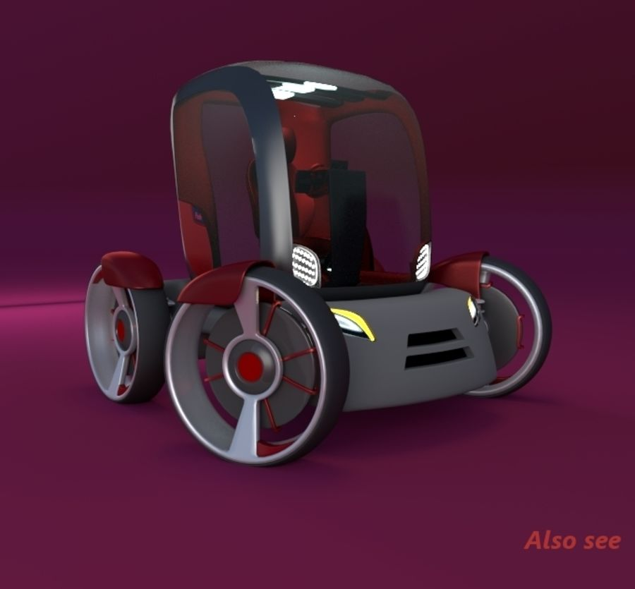 Compact electric concept car 9 v2 royalty-free 3d model - Preview no. 15