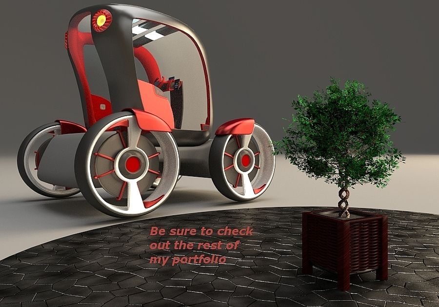 Compact electric concept car 9 v2 royalty-free 3d model - Preview no. 17