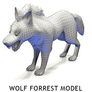 Wolf forest Toon 3d model