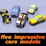 pięć imponujących samochodów toon 3d model