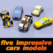 five impressive toon cars 3d model