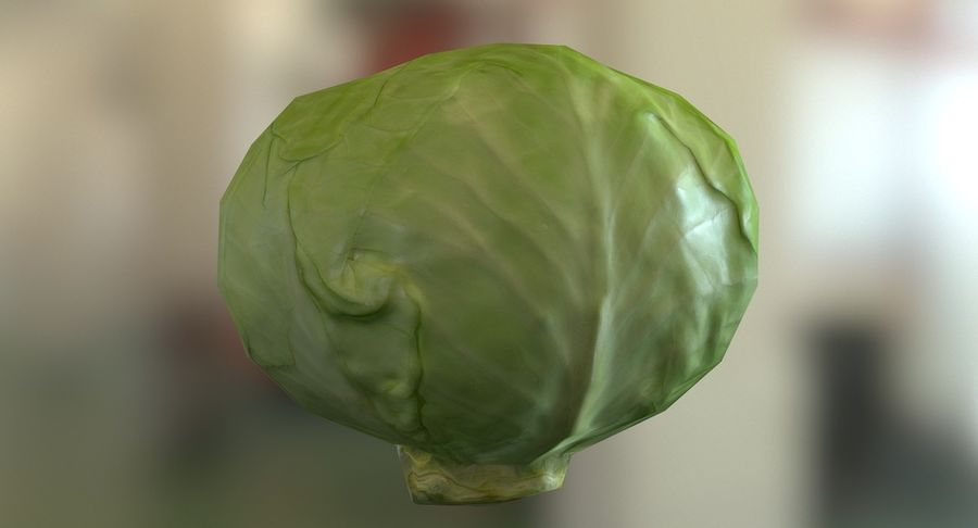 Low Poly Cabbage - Game Ready royalty-free 3d model - Preview no. 5