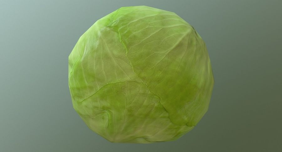 Low Poly Cabbage - Game Ready royalty-free 3d model - Preview no. 6